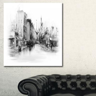 Designart Black And White City Cityscape Canvas Art