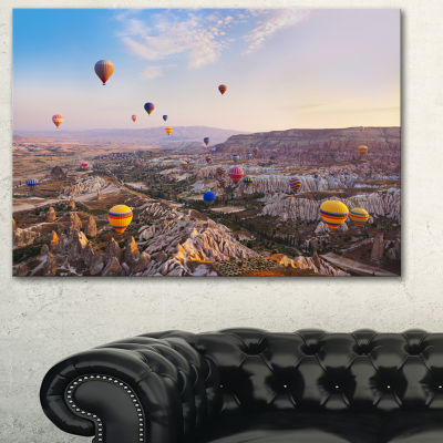 Designart Hot Air Balloon Flying Photography Canvas Art Print