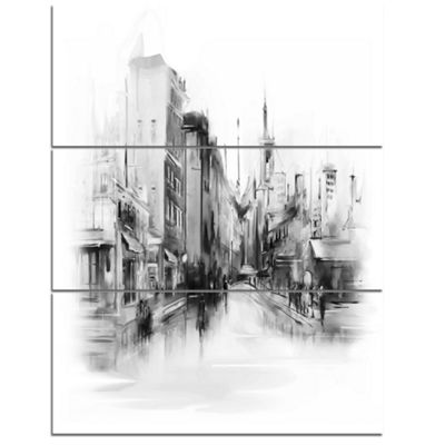 Designart Black And White City Cityscape Canvas Art - 3 Panels