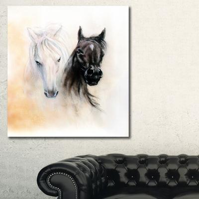 Designart Black And White Horse Heads Animal Canvas Art Print