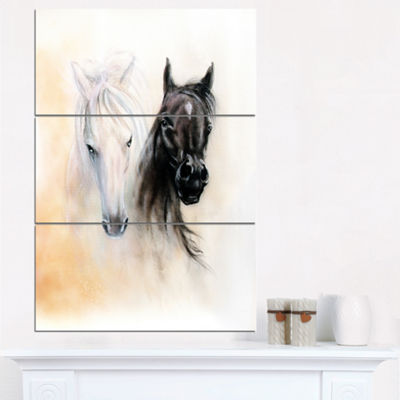 Designart Black And White Horse Heads Animal Canvas Art Print - 3 Panels