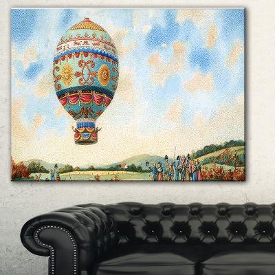 Designart Hot Air Balloon Illustration Abstract Print On Canvas - 3 Panels