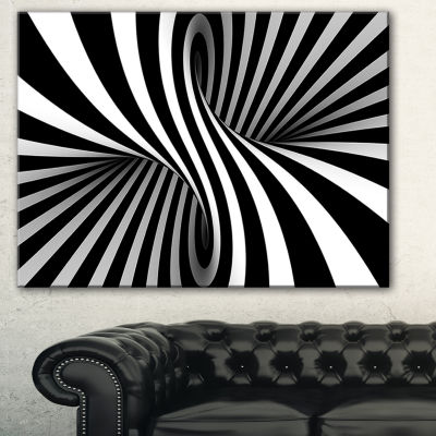 Designart Black And White Spiral Abstract Canvas Art Print - 3 Panels