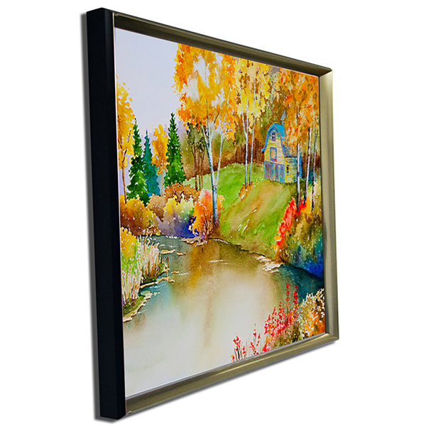 Designart House And Quiet Pond In Fall LandscapeArt Print Canvas