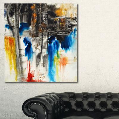 Designart Black Blue And Yellow Pattern Contemporary Canvas Art Print - 3 Panels