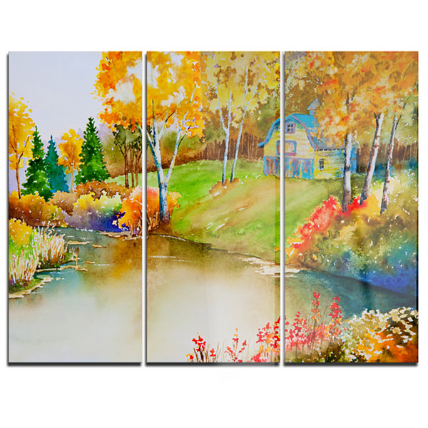 Designart House And Quiet Pond In Fall LandscapeArt Print Canvas - 3 Panels