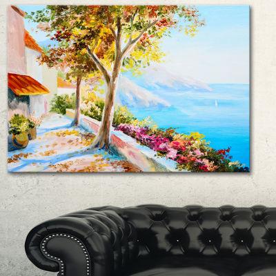 Designart House And Sea In The Fall Landscape ArtPrint Canvas