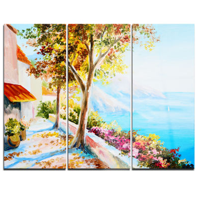 Designart House And Sea In The Fall Landscape ArtPrint Canvas - 3 Panels