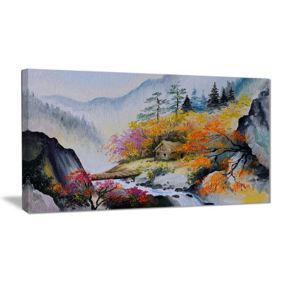 Designart House In The Mountains Landscape Art Print Canvas