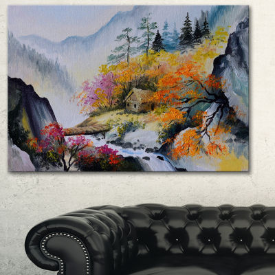 Designart House In The Mountains Landscape Art Print Canvas - 3 Panels