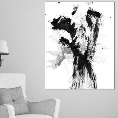 Designart Black Paint Stain Abstract Canvas Art Print - 3 Panels