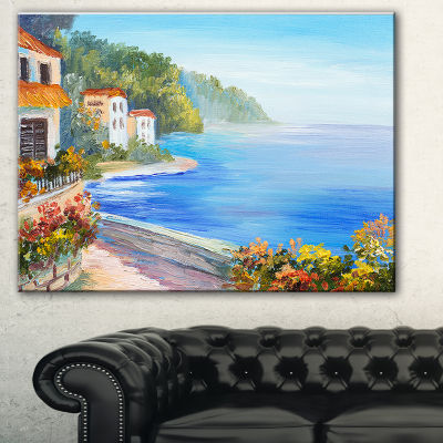 Designart House Near Blue Sea Landscape Art PrintCanvas - 3 Panels