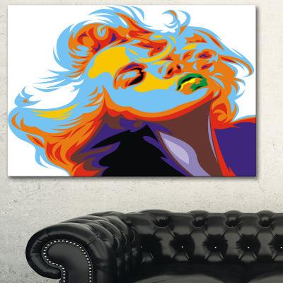 Designart Blonde Girl Art Vector Art Canvas Print-3 Panels