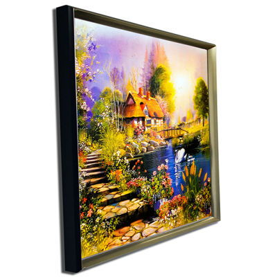 Designart House Near The Lake Swans Landscape ArtPrint Canvas
