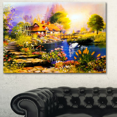 Designart House Near The Lake Swans Landscape ArtPrint Canvas - 3 Panels