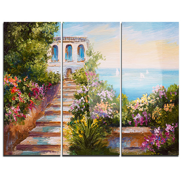 Designart House Near The Sea Landscape Art PrintCanvas - 3 Panels