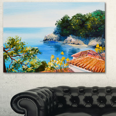 Designart House Near The Sea Large Landscape ArtPrint Canvas - 3 Panels