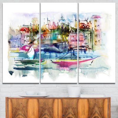 Designart Houses And Boats Landscape Canvas Print-3 Panels