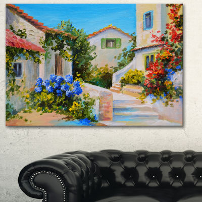 Designart Houses Near Sea Landscape Art Print Canvas