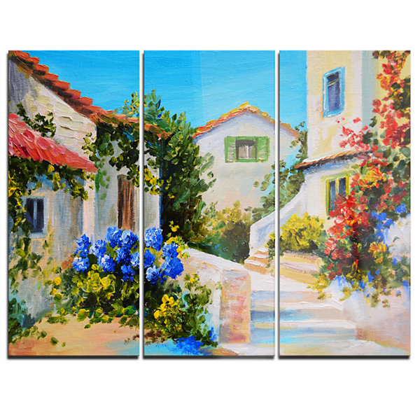 Designart Houses Near Sea Landscape Art Print Canvas - 3 Panels