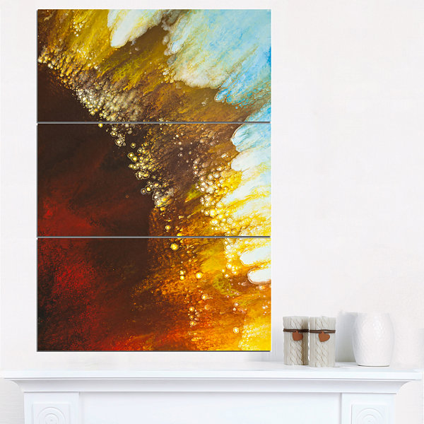 Designart Blow Of Brown Abstract Canvas Art Print-3 Panels