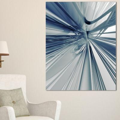 Designart Blue 3D Textured Art Abstract Canvas ArtPrint - 3 Panels