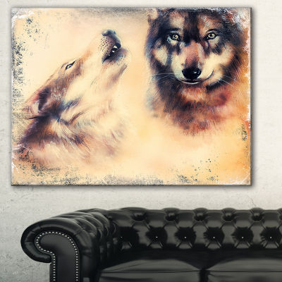 Designart Howling Wolf Animal Canvas Art Print -3Panels