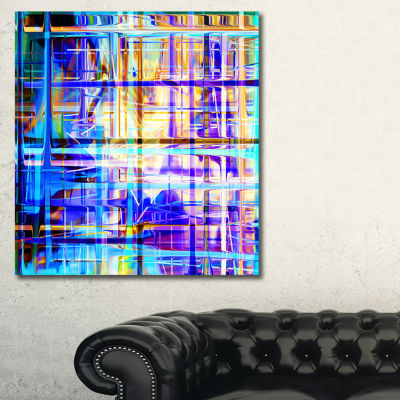 Designart Blue Abstract Grid Abstract Art Print -3Panels