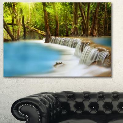 Designart Huai Mae Kamin Waterfall Blue Photography Canvas Art Print - 3 Panels