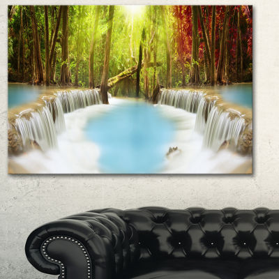 Designart Huai Mae Kamin Waterfall Green Large Photography Canvas Art Print