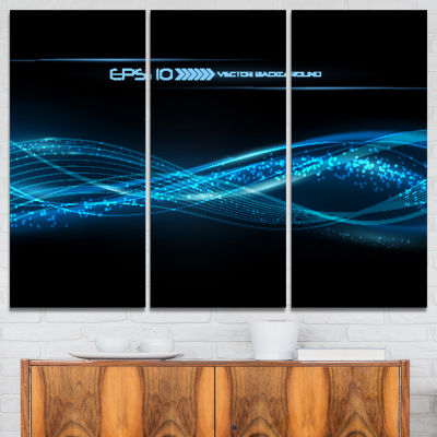 Designart Blue Abstract Vector Pattern Contemporary Canvas Art Print - 3 Panels