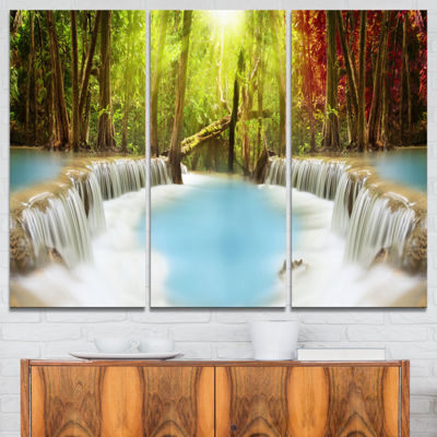 Designart Huai Mae Kamin Waterfall Green Large Photography Canvas Art Print - 3 Panels