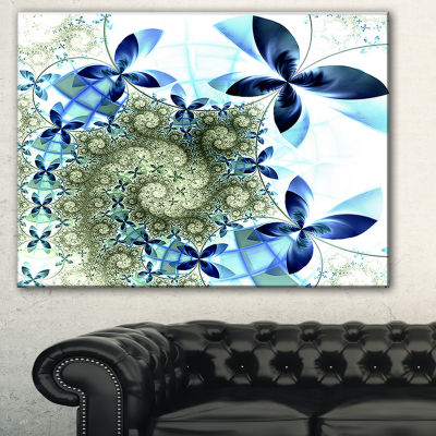 Designart Blue And Green Fractal Flowers Floral Art Canvas Print - 3 Panels
