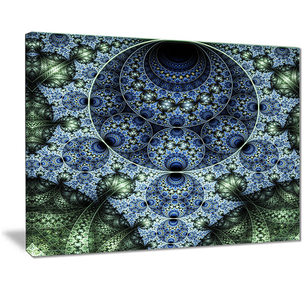 Designart Blue And Green Spiral Fractal Art Abstract Canvas Art Print