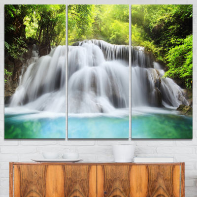 Designart Huai Mae Kamin Waterfall Landscape Art Print Canvas - 3 Panels