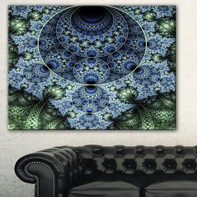 Designart Blue And Green Spiral Fractal Art Abstract Canvas Art Print - 3 Panels