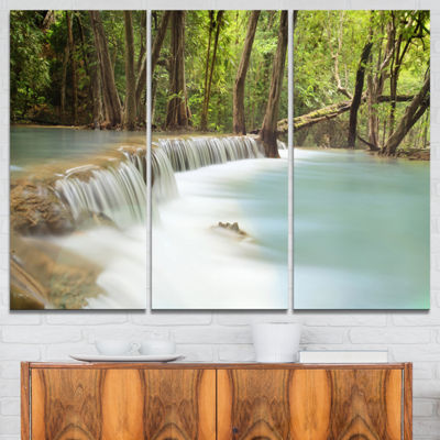 Designart Huai Mae Kamin Waterfall Large Photography Canvas Art Print - 3 Panels