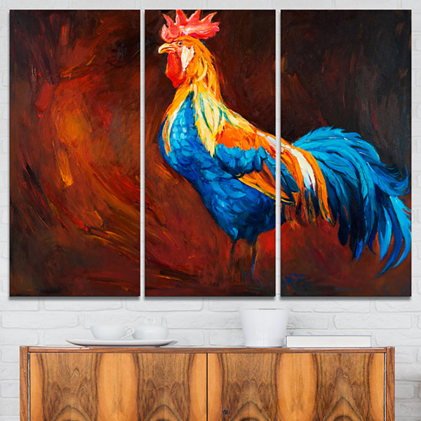 Designart Blue And Orange Rooster Animal Art On Canvas - 3 Panels