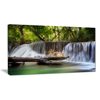 Designart Huai Mae Kamin Waterfall Photo AbstractCanvas Artwork