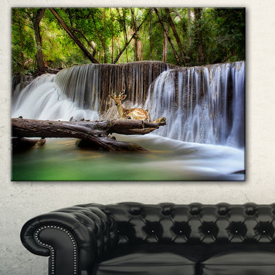 Designart Huai Mae Kamin Waterfall Photo AbstractCanvas Artwork - 3 Panels