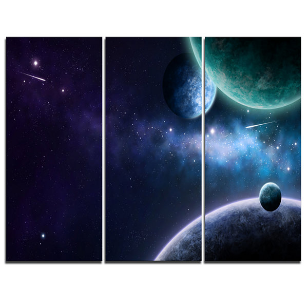 Designart Blue And Purple Nebula Contemporary Canvas Art Print - 3 Panels