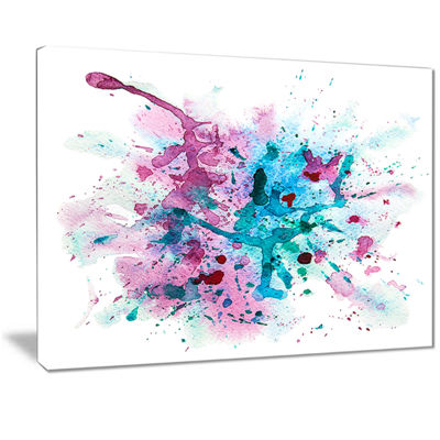 Designart Blue And Purple Paint Stain Abstract Watercolor Canvas Print