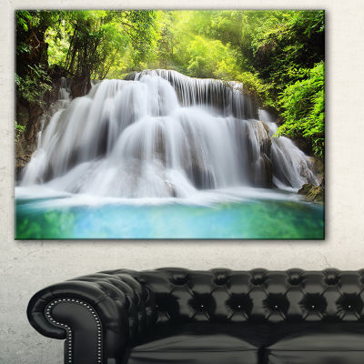 Designart Huai Mae Kamin Waterfall Photography Canvas Art Print - 3 Panels