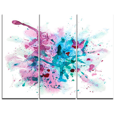 Designart Blue And Purple Paint Stain Abstract Watercolor Canvas Print - 3 Panels