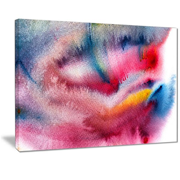 Designart Blue And Red Abstract Stain Abstract Canvas Art Print
