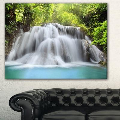 Designart Huai Mae Kamin Waterfall Photography Canvas Artwork Print - 3 Panels