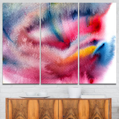 Designart Blue And Red Abstract Stain Abstract Canvas Art Print - 3 Panels