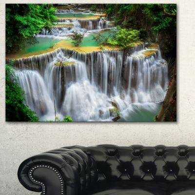 Designart Huay Mae Ka Min Waterfall Photography Canvas Art Print - 3 Panels