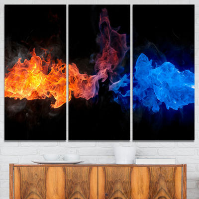 Designart Blue And Red Fire Contemporary Artwork-3Panels