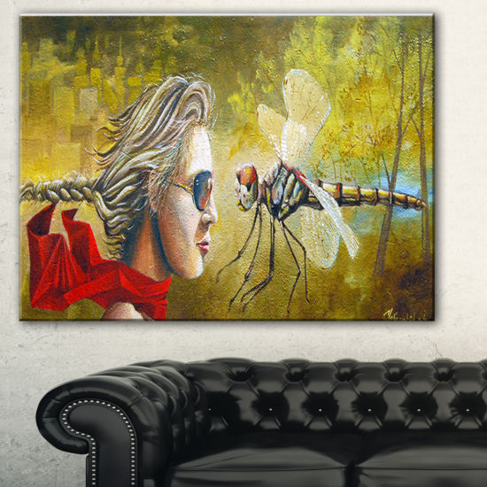 Designart Human And Dragon Fly Abstract Canvas ArtPrint